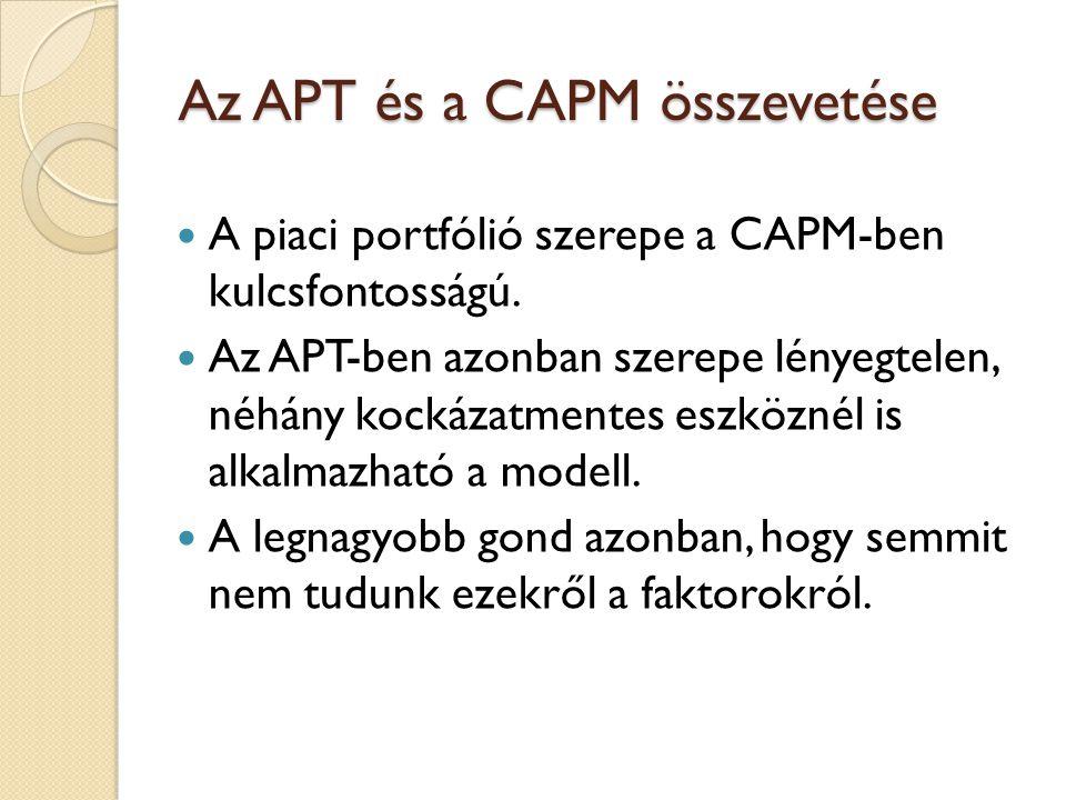 Az APT és a CAPM összevetése A piaci portfólió szerepe a CAPM-ben kulcsfontosságú. Az APT-ben azonban szerepe lényegtelen, néhány kockázatmentes eszkö