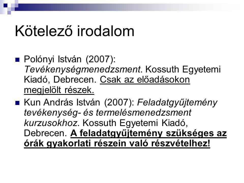 Kötelező irodalom Polónyi István (2007): Tevékenységmenedzsment.