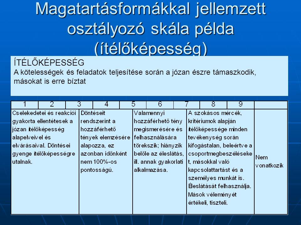 Magatartásformákkal jellemzett osztályozó skála példa (ítélőképesség) ÍTÉLŐKÉPESSÉG A kötelességek és feladatok teljesítése során a józan észre támasz