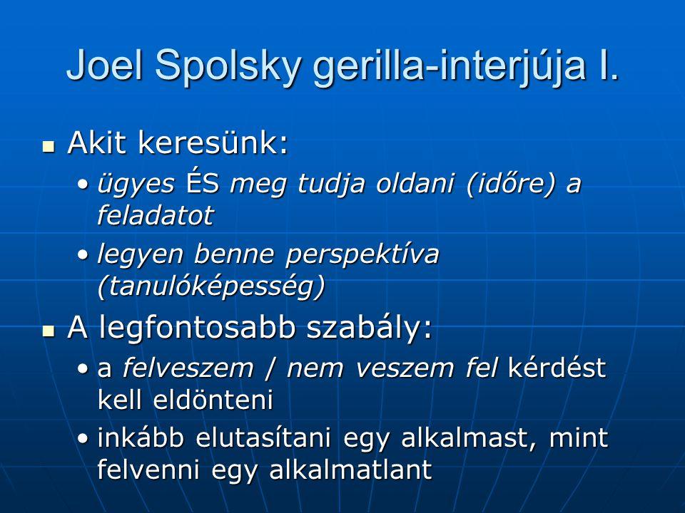 Joel Spolsky gerilla-interjúja I. Akit keresünk: Akit keresünk: ügyes ÉS meg tudja oldani (időre) a feladatotügyes ÉS meg tudja oldani (időre) a felad