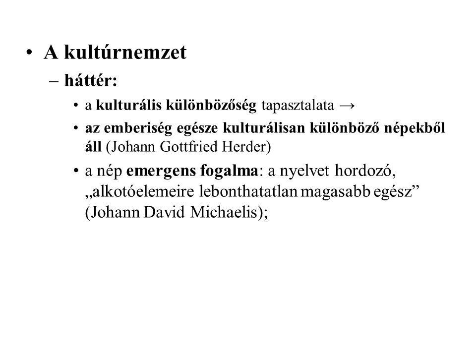 """A kultúrnemzet –háttér: a kulturális különbözőség tapasztalata → az emberiség egésze kulturálisan különböző népekből áll (Johann Gottfried Herder) a nép emergens fogalma: a nyelvet hordozó, """"alkotóelemeire lebonthatatlan magasabb egész (Johann David Michaelis);"""