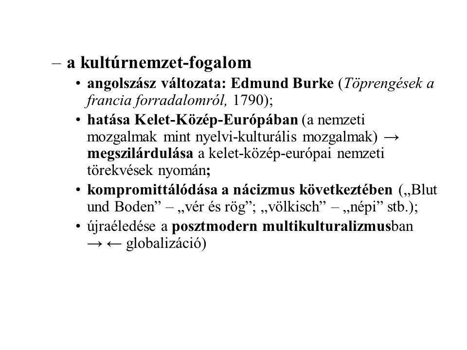 """–a kultúrnemzet-fogalom angolszász változata: Edmund Burke (Töprengések a francia forradalomról, 1790); hatása Kelet-Közép-Európában (a nemzeti mozgalmak mint nyelvi-kulturális mozgalmak) → megszilárdulása a kelet-közép-európai nemzeti törekvések nyomán; kompromittálódása a nácizmus következtében (""""Blut und Boden – """"vér és rög ; """"völkisch – """"népi stb.); újraéledése a posztmodern multikulturalizmusban → ← globalizáció)"""