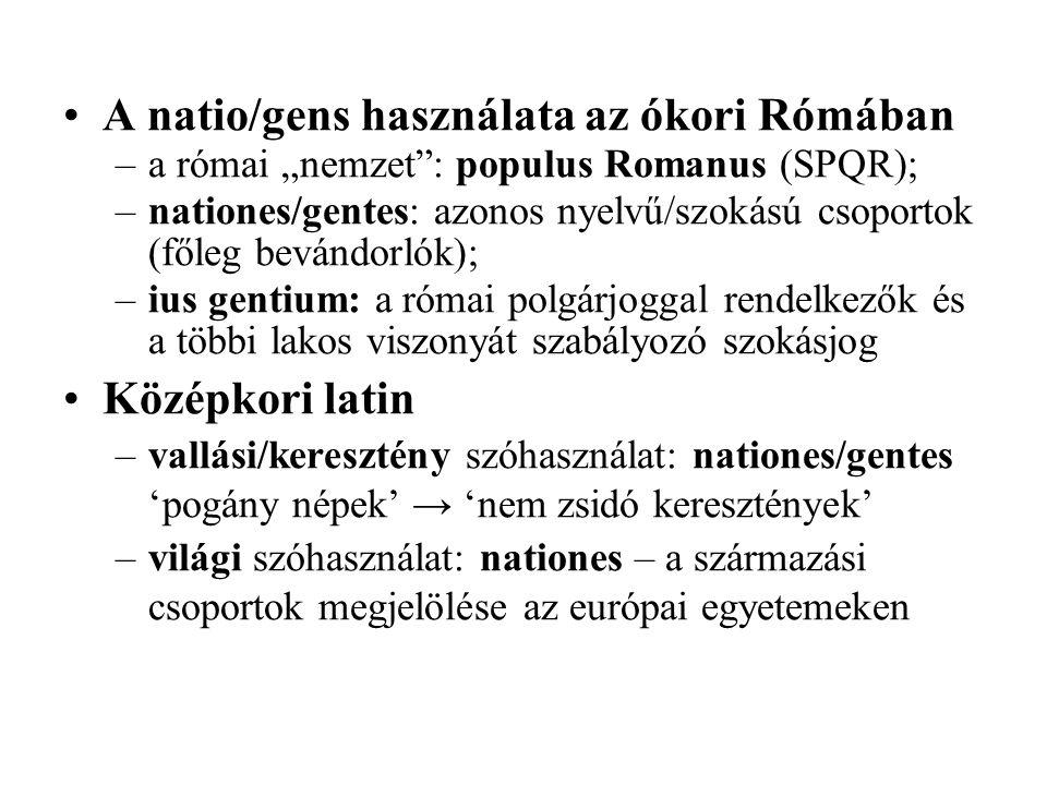 Európai nyelvek – a natio származékszavai vagy megfelelői (szláv narod, finn kansakunta, magyar nemzet; izalndi Þjóð ← 'nép') –'születés, eredet, nép' (14.