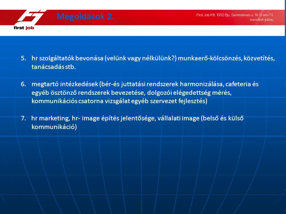 5.hr szolgáltatók bevonása (velünk vagy nélkülünk?) munkaerő-kölcsönzés, közvetítés, tanácsadás stb. 6.megtartó intézkedések (bér-és juttatási rendsze