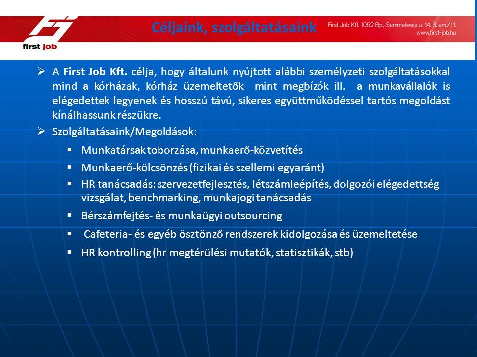 Céljaink, szolgáltatásaink  A First Job Kft. célja, hogy általunk nyújtott alábbi személyzeti szolgáltatásokkal mind a kórházak, kórház üzemeltetők m