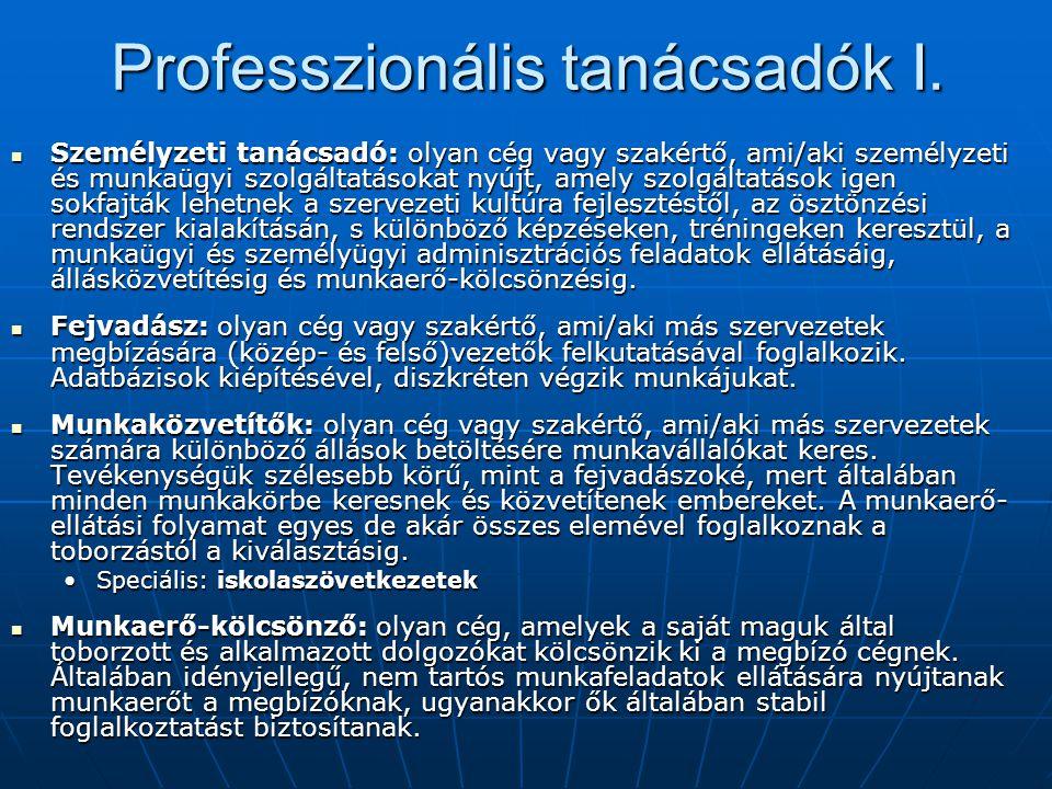 Professzionális tanácsadók I. Személyzeti tanácsadó: olyan cég vagy szakértő, ami/aki személyzeti és munkaügyi szolgáltatásokat nyújt, amely szolgálta