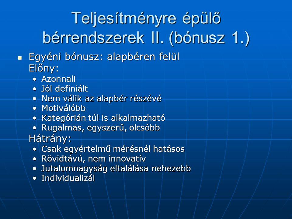 Teljesítményre épülő bérrendszerek II. (bónusz 1.) Egyéni bónusz: alapbéren felül Egyéni bónusz: alapbéren felülElőny: AzonnaliAzonnali Jól definiáltJ