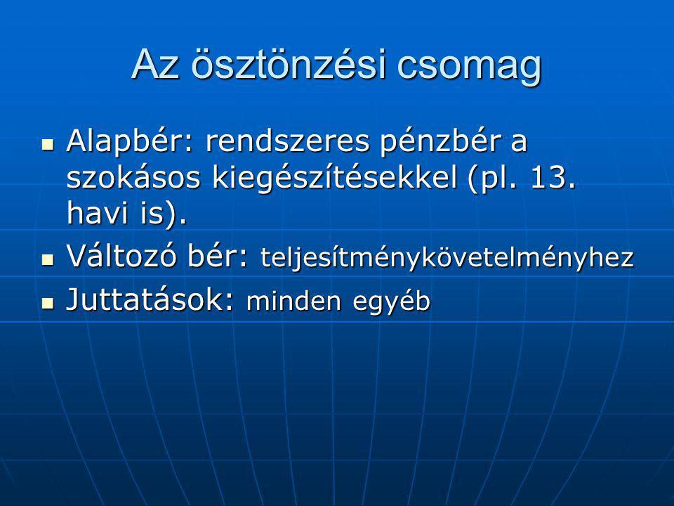 Az ösztönzési csomag Alapbér: rendszeres pénzbér a szokásos kiegészítésekkel (pl.