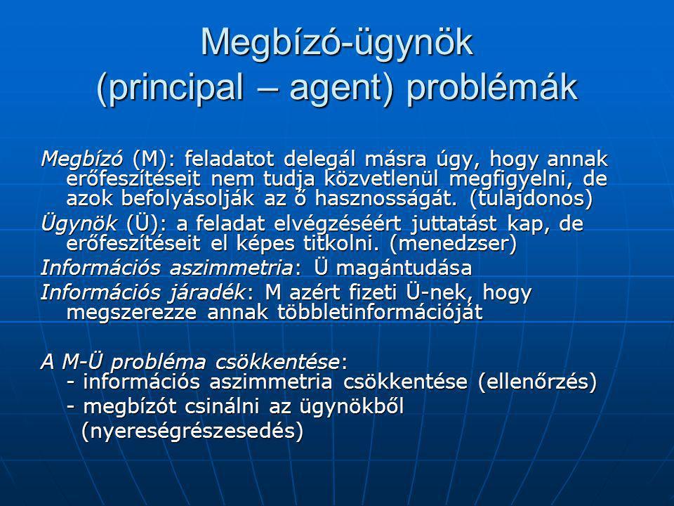 Megbízó-ügynök (principal – agent) problémák Megbízó (M): feladatot delegál másra úgy, hogy annak erőfeszítéseit nem tudja közvetlenül megfigyelni, de azok befolyásolják az ő hasznosságát.