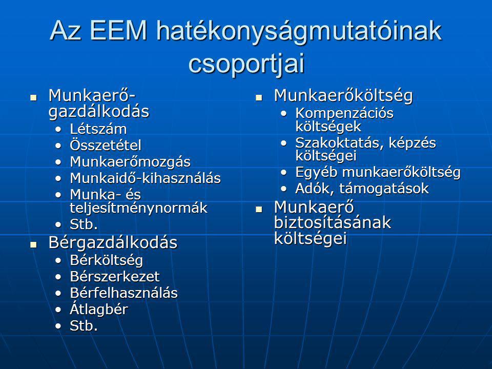 Az EEM hatékonyságmutatóinak csoportjai Munkaerő- gazdálkodás Munkaerő- gazdálkodás LétszámLétszám ÖsszetételÖsszetétel MunkaerőmozgásMunkaerőmozgás Munkaidő-kihasználásMunkaidő-kihasználás Munka- és teljesítménynormákMunka- és teljesítménynormák Stb.Stb.