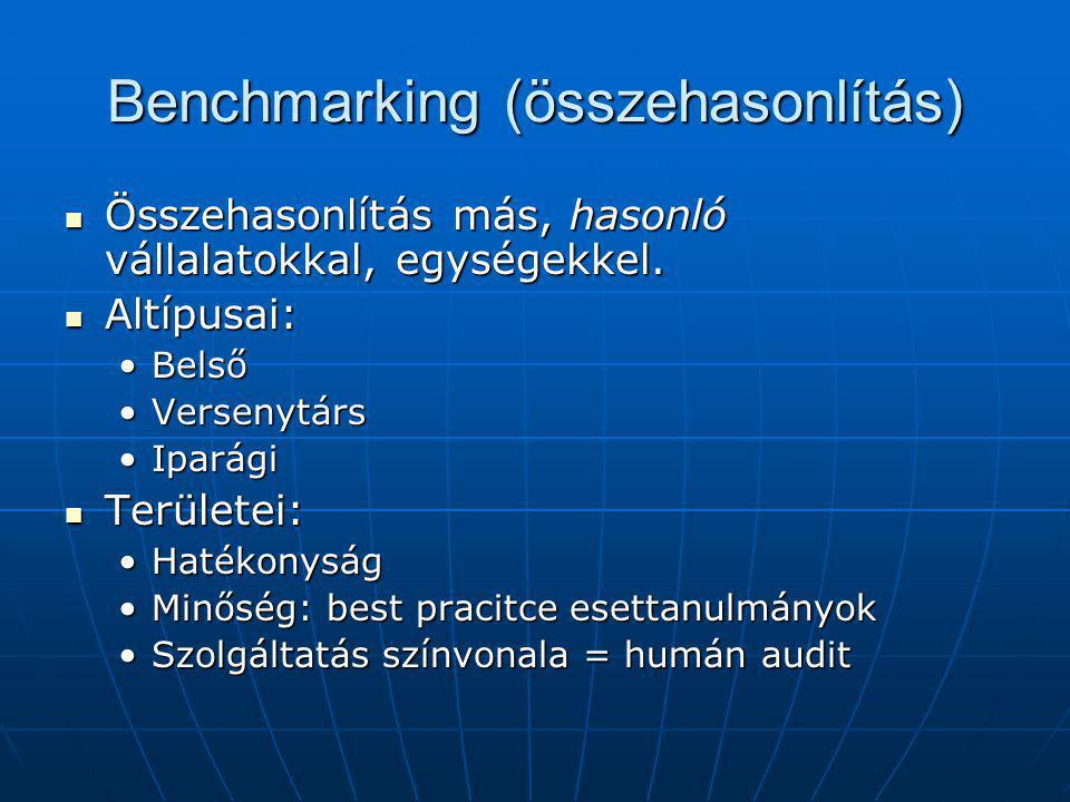 Benchmarking (összehasonlítás) Összehasonlítás más, hasonló vállalatokkal, egységekkel. Összehasonlítás más, hasonló vállalatokkal, egységekkel. Altíp