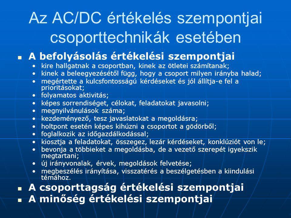 Az AC/DC értékelés szempontjai csoporttechnikák esetében A befolyásolás értékelési szempontjai kire hallgatnak a csoportban, kinek az ötletei számítanak; kinek a beleegyezésétől függ, hogy a csoport milyen irányba halad; megértette a kulcsfontosságú kérdéseket és jól állítja-e fel a prioritásokat; folyamatos aktivitás; képes sorrendiséget, célokat, feladatokat javasolni; megnyilvánulások száma; kezdeményező, tesz javaslatokat a megoldásra; holtpont esetén képes kihúzni a csoportot a gödörből; foglalkozik az időgazdálkodással; kiosztja a feladatokat, összegez, lezár kérdéseket, konklúziót von le; bevonja a többieket a megoldásba, de a vezető szerepét igyekszik megtartani; új irányvonalak, érvek, megoldások felvetése; megbeszélés irányítása, visszatérés a beszélgetésben a kiindulási témához.