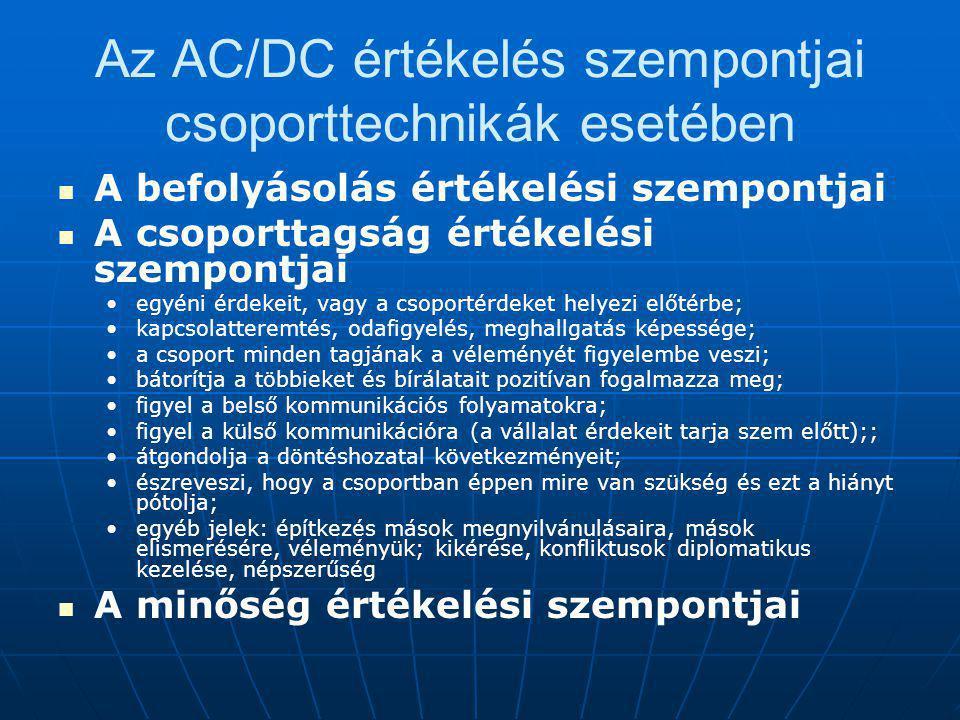 Az AC/DC értékelés szempontjai csoporttechnikák esetében A befolyásolás értékelési szempontjai A csoporttagság értékelési szempontjai egyéni érdekeit, vagy a csoportérdeket helyezi előtérbe; kapcsolatteremtés, odafigyelés, meghallgatás képessége; a csoport minden tagjának a véleményét figyelembe veszi; bátorítja a többieket és bírálatait pozitívan fogalmazza meg; figyel a belső kommunikációs folyamatokra; figyel a külső kommunikációra (a vállalat érdekeit tarja szem előtt);; átgondolja a döntéshozatal következményeit; észreveszi, hogy a csoportban éppen mire van szükség és ezt a hiányt pótolja; egyéb jelek: építkezés mások megnyilvánulásaira, mások elismerésére, véleményük; kikérése, konfliktusok diplomatikus kezelése, népszerűség A minőség értékelési szempontjai