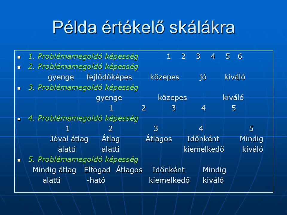 Példa értékelő skálákra 1.Problémamegoldó képesség 1 2 3 4 5 6 1.