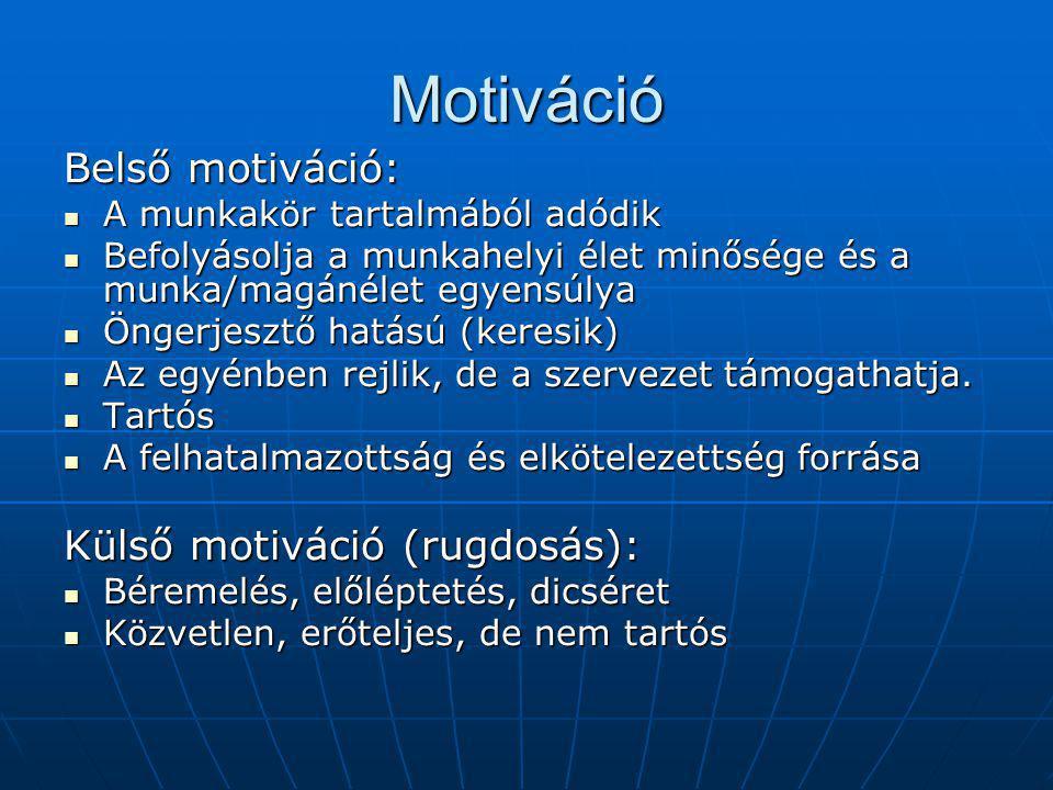 Motiváció Belső motiváció: A munkakör tartalmából adódik A munkakör tartalmából adódik Befolyásolja a munkahelyi élet minősége és a munka/magánélet egyensúlya Befolyásolja a munkahelyi élet minősége és a munka/magánélet egyensúlya Öngerjesztő hatású (keresik) Öngerjesztő hatású (keresik) Az egyénben rejlik, de a szervezet támogathatja.