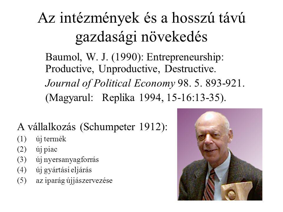 Az intézmények és a hosszú távú gazdasági növekedés Baumol, W.
