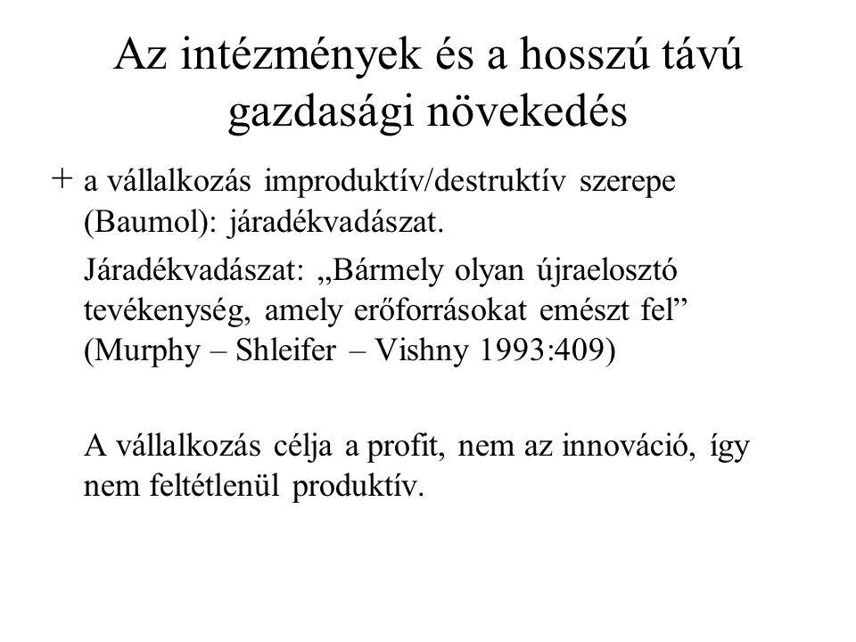 Az intézmények és a hosszú távú gazdasági növekedés + a vállalkozás improduktív/destruktív szerepe (Baumol): járadékvadászat.