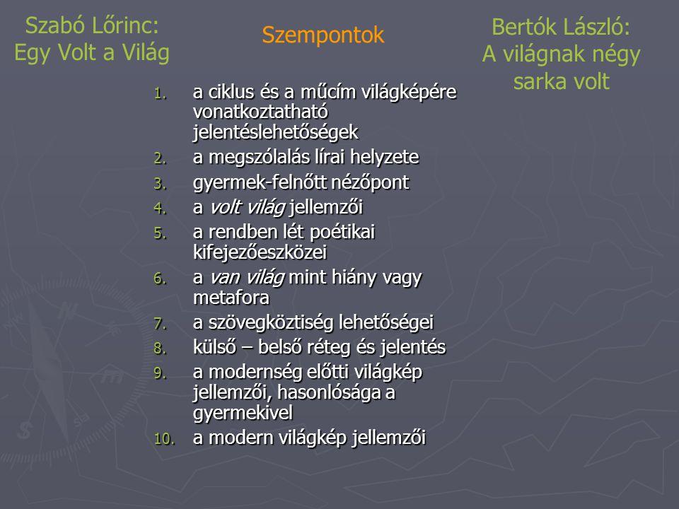 Szabó Lőrinc: Egy Volt a Világ Szempontok 1.