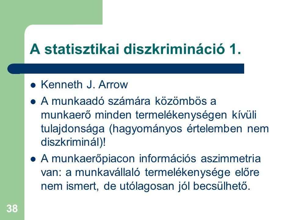 38 A statisztikai diszkrimináció 1.Kenneth J.