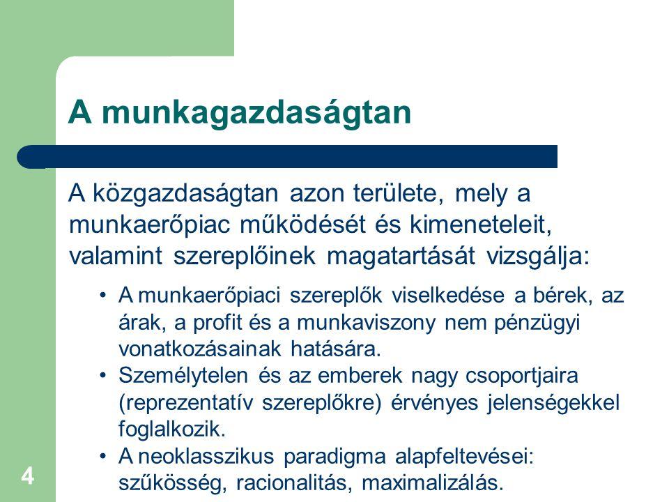 5 A munka(erő)piac fogalma Az a piac, amely a munkavállalókat allokálja a munkahelyek között és összehangolja a foglalkoztatási döntéseket.