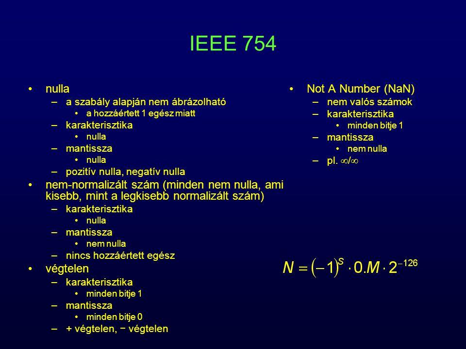 IEEE 754 nulla –a szabály alapján nem ábrázolható a hozzáértett 1 egész miatt –karakterisztika nulla –mantissza nulla –pozitív nulla, negatív nulla ne
