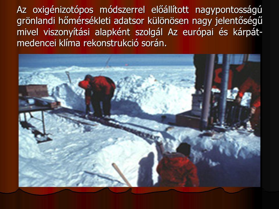 Az oxigénizotópos módszerrel előállított nagypontosságú grönlandi hőmérsékleti adatsor különösen nagy jelentőségű mivel viszonyítási alapként szolgál Az európai és kárpát- medencei klíma rekonstrukció során.