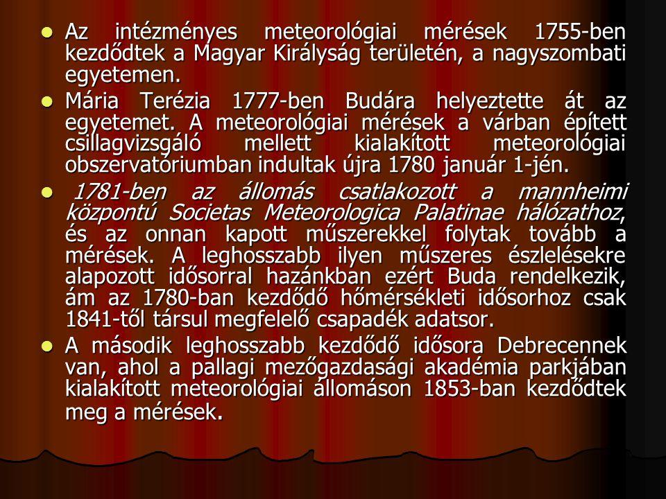 Az intézményes meteorológiai mérések 1755-ben kezdődtek a Magyar Királyság területén, a nagyszombati egyetemen.