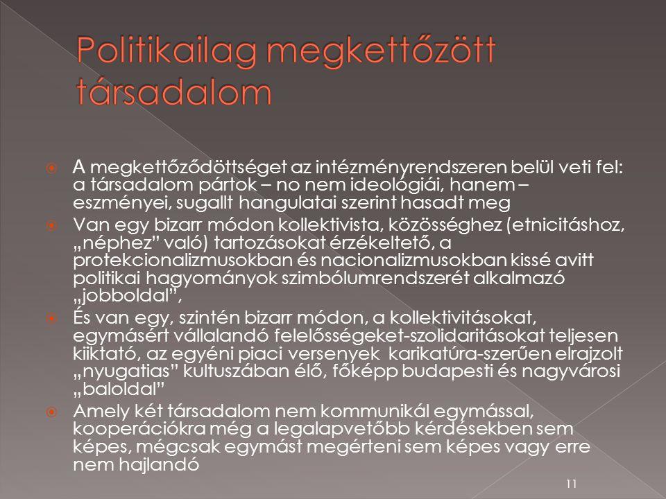""" A megkettőződöttséget az intézményrendszeren belül veti fel: a társadalom pártok – no nem ideológiái, hanem – eszményei, sugallt hangulatai szerint hasadt meg  Van egy bizarr módon kollektivista, közösséghez (etnicitáshoz, """"néphez való) tartozásokat érzékeltető, a protekcionalizmusokban és nacionalizmusokban kissé avitt politikai hagyományok szimbólumrendszerét alkalmazó """"jobboldal ,  És van egy, szintén bizarr módon, a kollektivitásokat, egymásért vállalandó felelősségeket-szolidaritásokat teljesen kiiktató, az egyéni piaci versenyek karikatúra-szerűen elrajzolt """"nyugatias kultuszában élő, főképp budapesti és nagyvárosi """"baloldal  Amely két társadalom nem kommunikál egymással, kooperációkra még a legalapvetőbb kérdésekben sem képes, mégcsak egymást megérteni sem képes vagy erre nem hajlandó 11"""