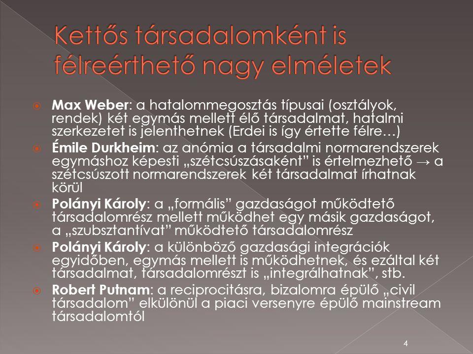 """ Max Weber : a hatalommegosztás típusai (osztályok, rendek) két egymás mellett élő társadalmat, hatalmi szerkezetet is jelenthetnek (Erdei is így értette félre…)  Émile Durkheim : az anómia a társadalmi normarendszerek egymáshoz képesti """"szétcsúszásaként is értelmezhető → a szétcsúszott normarendszerek két társadalmat írhatnak körül  Polányi Károly : a """"formális gazdaságot működtető társadalomrész mellett működhet egy másik gazdaságot, a """"szubsztantívat működtető társadalomrész  Polányi Károly : a különböző gazdasági integrációk egyidőben, egymás mellett is működhetnek, és ezáltal két társadalmat, társadalomrészt is """"integrálhatnak , stb."""