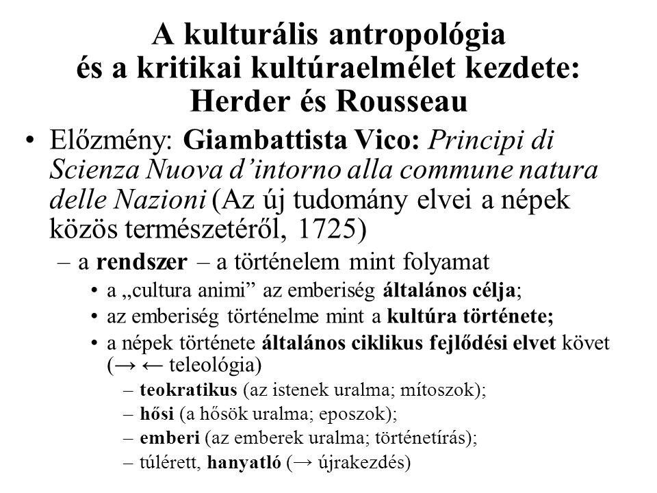 A kulturális antropológia és a kritikai kultúraelmélet kezdete: Herder és Rousseau Előzmény: Giambattista Vico: Principi di Scienza Nuova d'intorno al