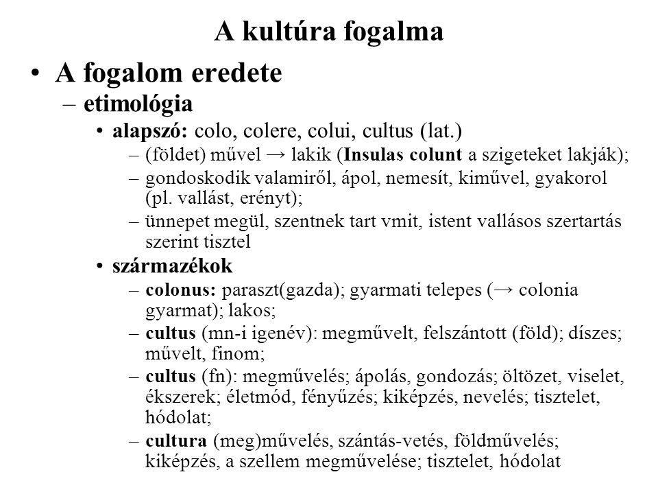 A kultúra fogalma A fogalom eredete –etimológia alapszó: colo, colere, colui, cultus (lat.) –(földet) művel → lakik (Insulas colunt a szigeteket lakjá