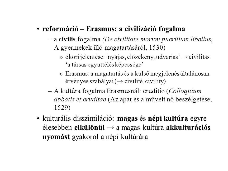 reformáció – Erasmus: a civilizáció fogalma –a civilis fogalma (De civilitate morum puerilium libellus, A gyermekek illő magatartásáról, 1530) »ókori