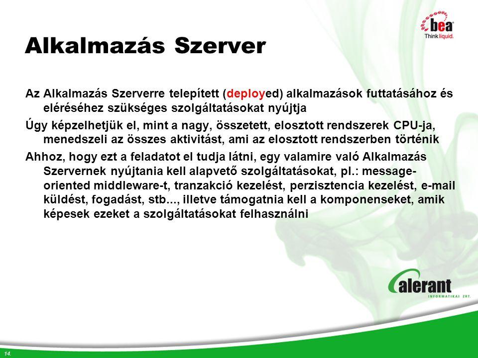14. Alkalmazás Szerver Az Alkalmazás Szerverre telepített (deployed) alkalmazások futtatásához és eléréséhez szükséges szolgáltatásokat nyújtja Úgy ké