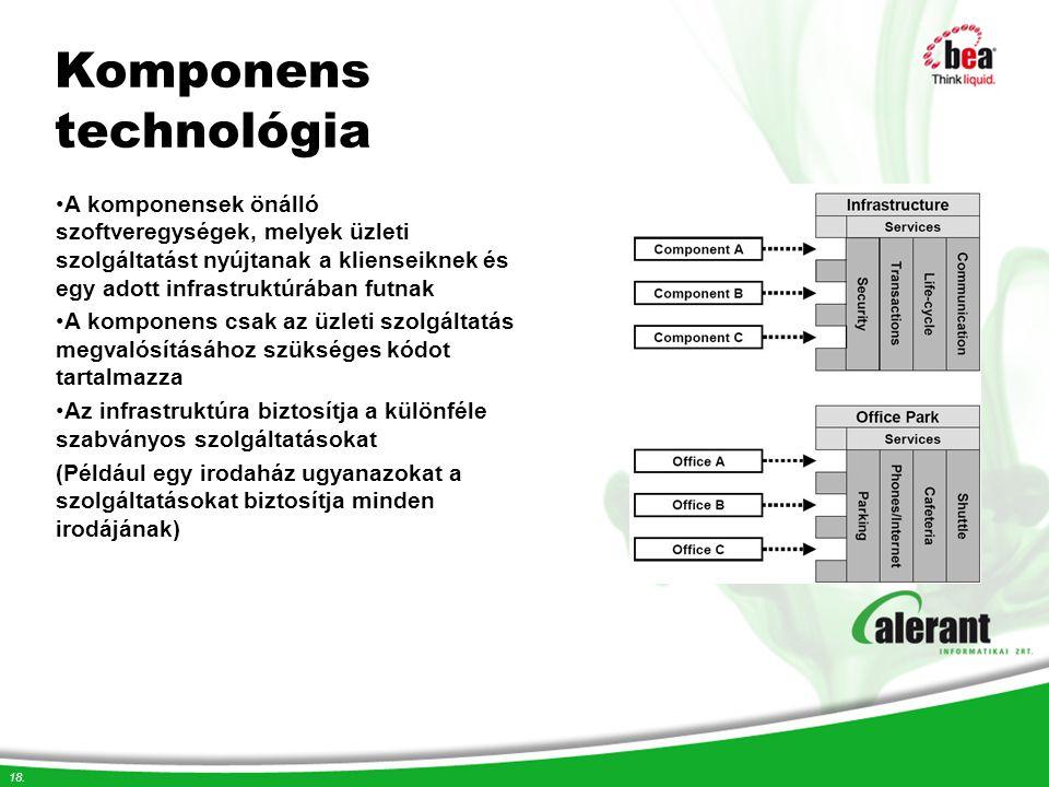 18. Komponens technológia A komponensek önálló szoftveregységek, melyek üzleti szolgáltatást nyújtanak a klienseiknek és egy adott infrastruktúrában f