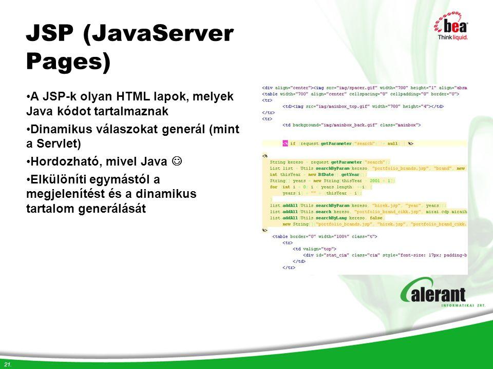 21. JSP (JavaServer Pages) A JSP-k olyan HTML lapok, melyek Java kódot tartalmaznak Dinamikus válaszokat generál (mint a Servlet) Hordozható, mivel Ja