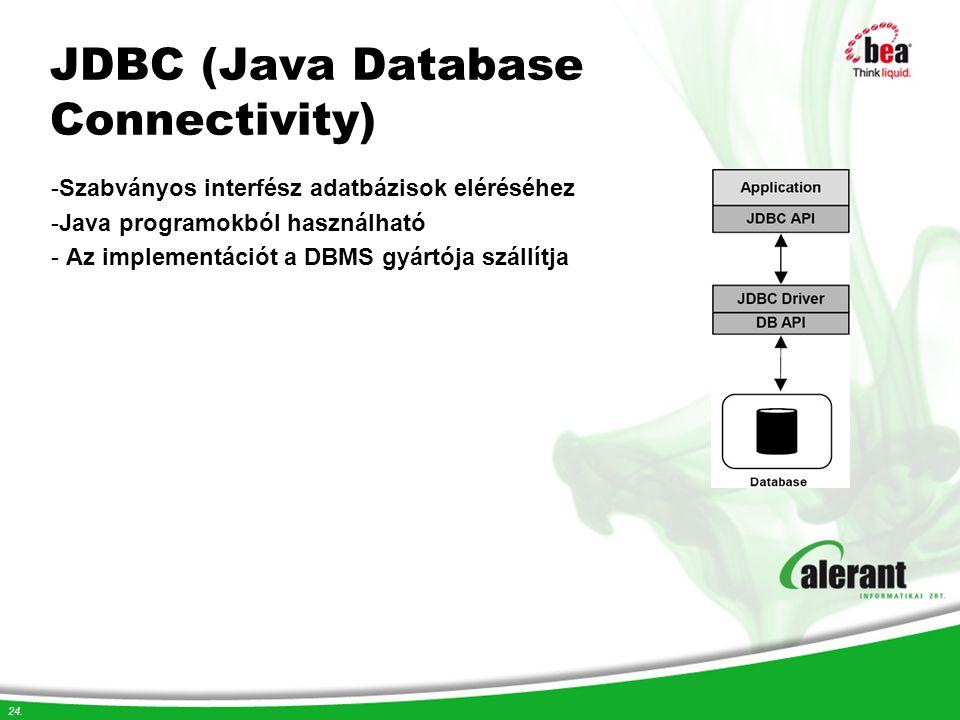 24. JDBC (Java Database Connectivity) -Szabványos interfész adatbázisok eléréséhez -Java programokból használható - Az implementációt a DBMS gyártója