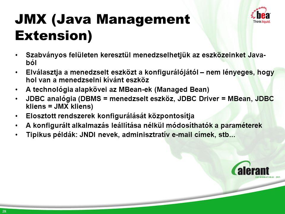 29. JMX (Java Management Extension) Szabványos felületen keresztül menedzselhetjük az eszközeinket Java- ból Elválasztja a menedzselt eszközt a konfig