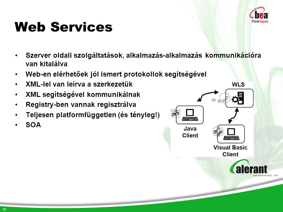 30. Web Services Szerver oldali szolgáltatások, alkalmazás-alkalmazás kommunikációra van kitalálva Web-en elérhetőek jól ismert protokollok segítségév