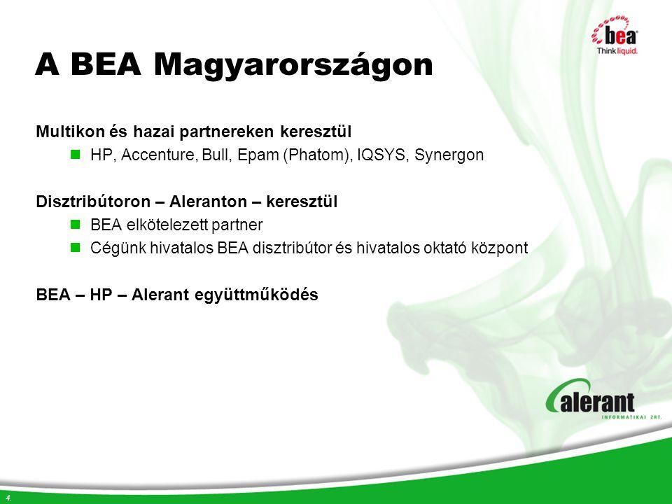 4. A BEA Magyarországon Multikon és hazai partnereken keresztül HP, Accenture, Bull, Epam (Phatom), IQSYS, Synergon Disztribútoron – Aleranton – keres