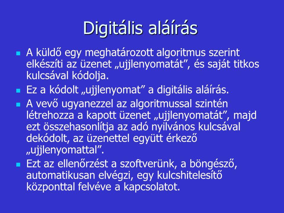 """Digitális aláírás A küldő egy meghatározott algoritmus szerint elkészíti az üzenet """"ujjlenyomatát , és saját titkos kulcsával kódolja."""