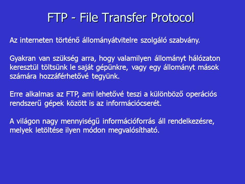 FTP - File Transfer Protocol Az interneten történő állományátvitelre szolgáló szabvány.