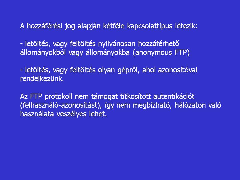 A hozzáférési jog alapján kétféle kapcsolattípus létezik: - letöltés, vagy feltöltés nyilvánosan hozzáférhető állományokból vagy állományokba (anonymous FTP) - letöltés, vagy feltöltés olyan gépről, ahol azonosítóval rendelkezünk.