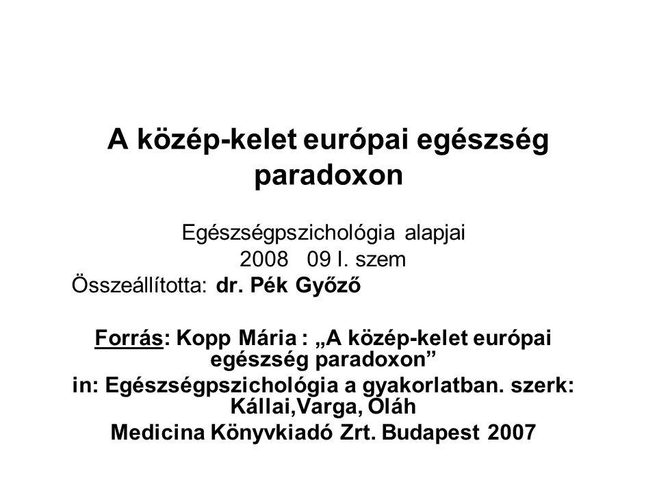 """A közép-kelet európai egészség paradoxon Egészségpszichológia alapjai 2008 09 I. szem Összeállította: dr. Pék Győző Forrás: Kopp Mária : """"A közép-kele"""
