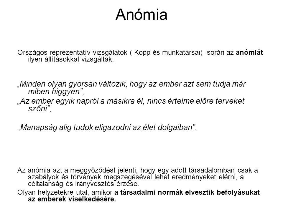"""Anómia Országos reprezentatív vizsgálatok ( Kopp és munkatársai) során az anómiát ilyen állításokkal vizsgálták: """" Minden olyan gyorsan változik, hogy"""