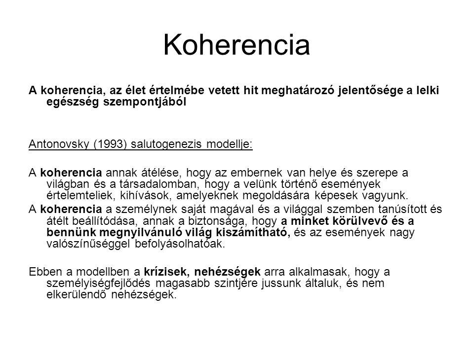 Koherencia A koherencia, az élet értelmébe vetett hit meghatározó jelentősége a lelki egészség szempontjából Antonovsky (1993) salutogenezis modellje: