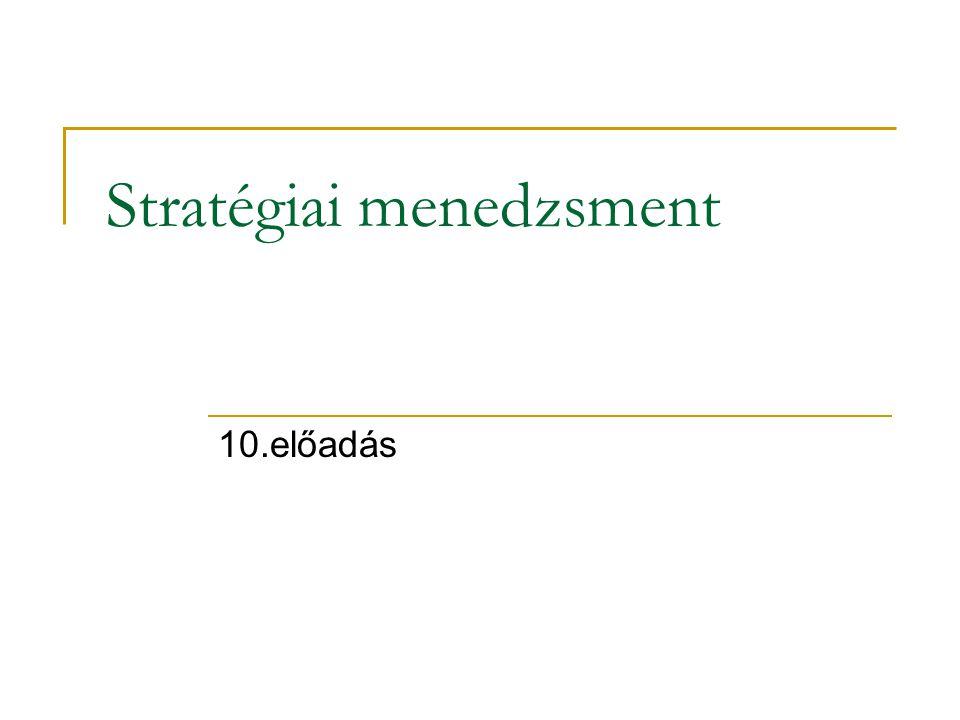 Stratégiai menedzsment 10.előadás