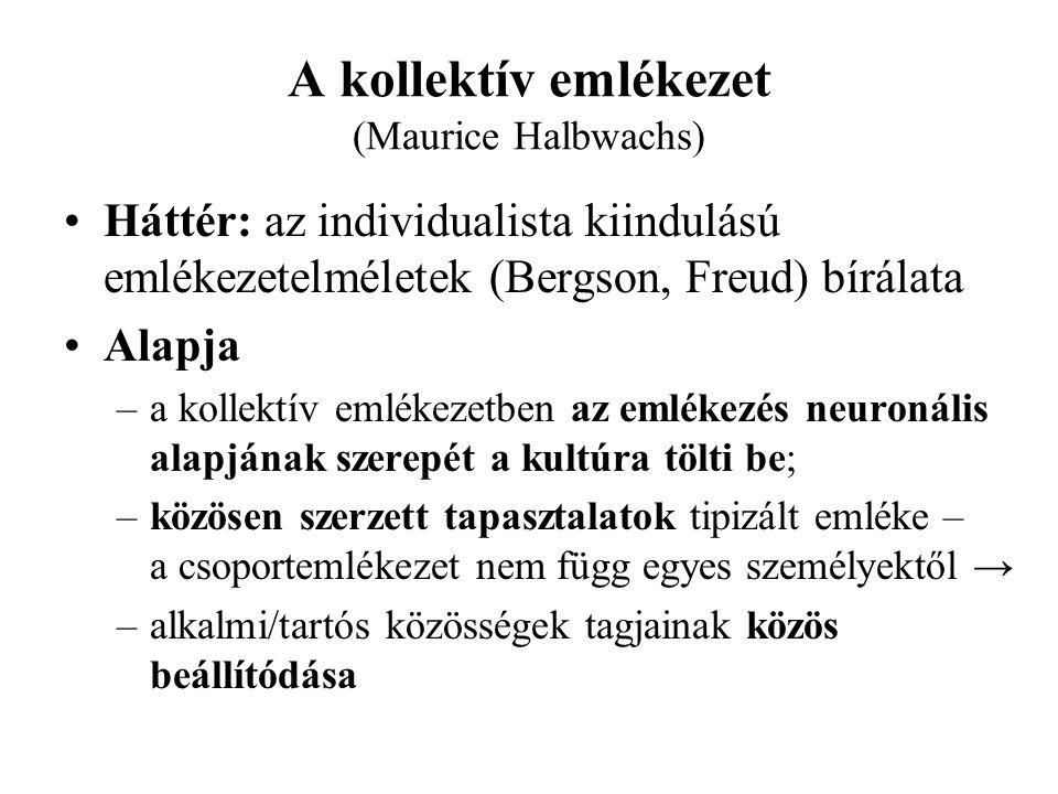 A kollektív emlékezet (Maurice Halbwachs) Háttér: az individualista kiindulású emlékezetelméletek (Bergson, Freud) bírálata Alapja –a kollektív emléke