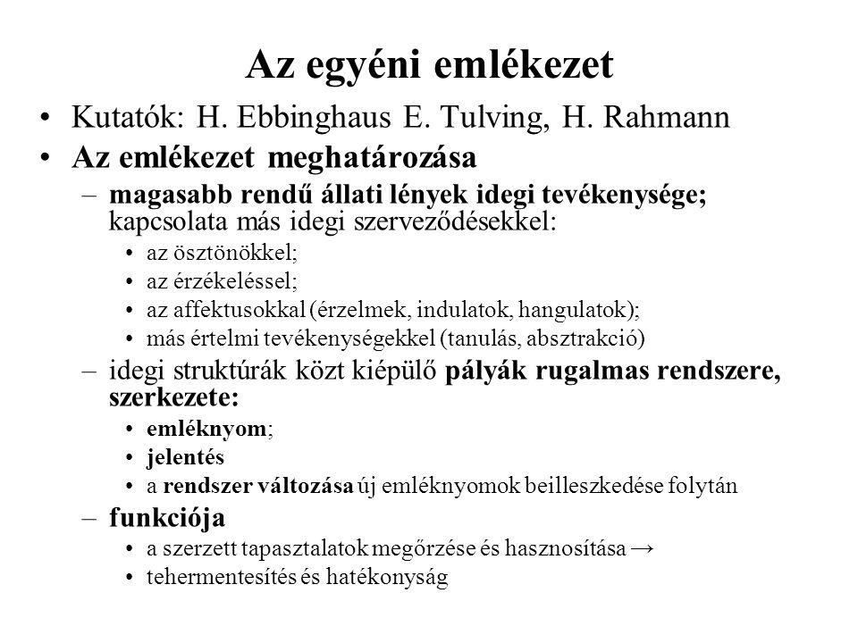 Az egyéni emlékezet Kutatók: H. Ebbinghaus E. Tulving, H. Rahmann Az emlékezet meghatározása –magasabb rendű állati lények idegi tevékenysége; kapcsol