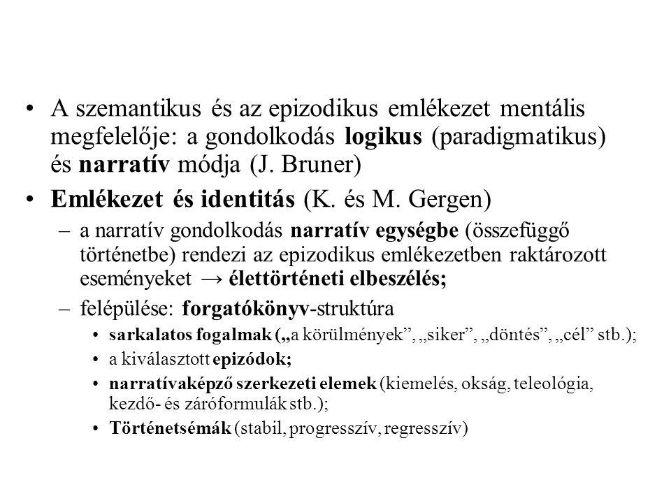A szemantikus és az epizodikus emlékezet mentális megfelelője: a gondolkodás logikus (paradigmatikus) és narratív módja (J. Bruner) Emlékezet és ident