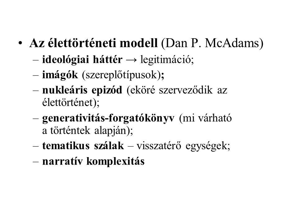 Az élettörténeti modell (Dan P. McAdams) –ideológiai háttér → legitimáció; –imágók (szereplőtípusok); –nukleáris epizód (eköré szerveződik az élettört